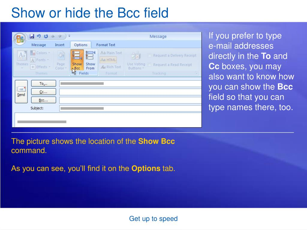 Show or hide the Bcc field