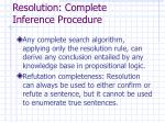 resolution complete inference procedure