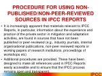 procedure for using non published non peer reviewed sources in ipcc reports