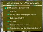 technologies for cwa detection