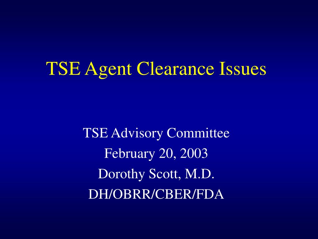 tse agent clearance issues l.