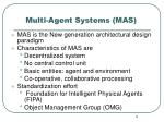multi agent systems mas