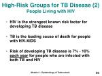 high risk groups for tb disease 2 people living with hiv
