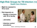 high risk groups for tb infection 12 health care workers