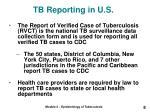 tb reporting in u s