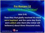 pre romans 12 marks of a true christian