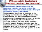 cvd epidemic in developing developed countries are they same