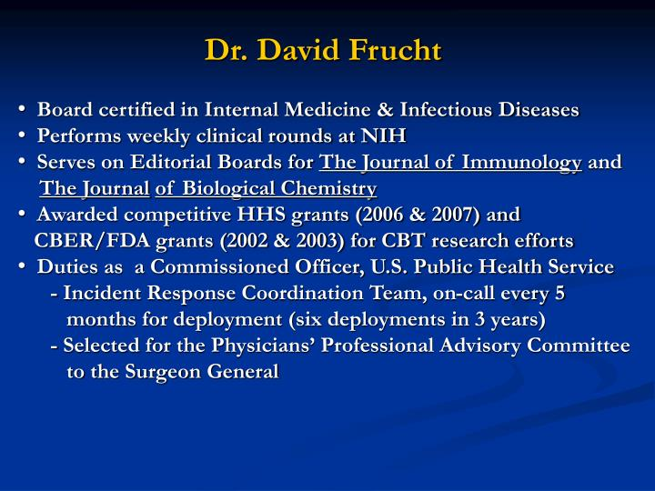 Dr. David Frucht