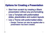 options for creating a presentation