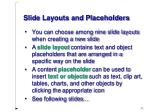 slide layouts and placeholders