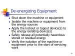 de energizing equipment