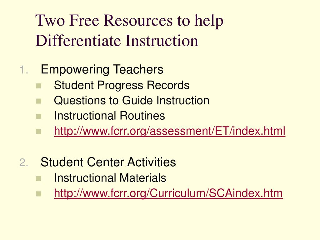 Two Free Resources to help Differentiate Instruction