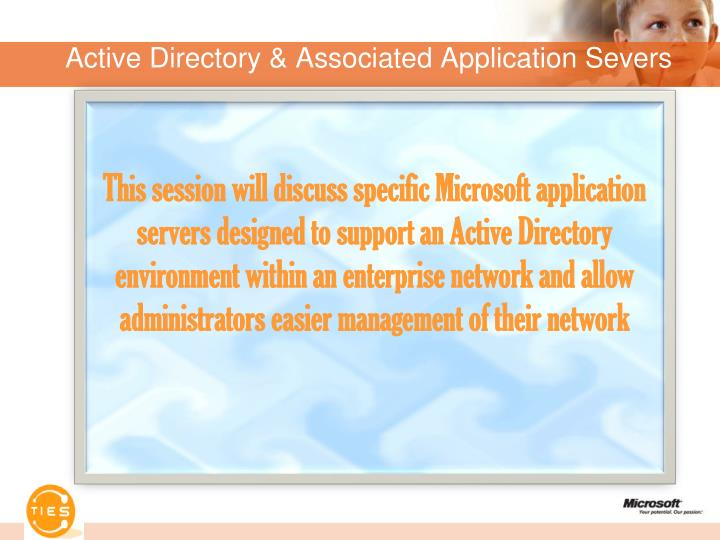 Active directory associated application severs