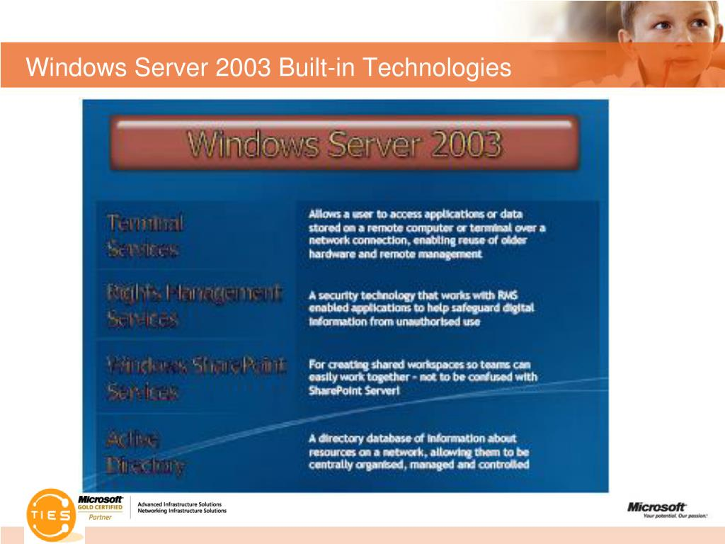 Windows Server 2003 Built-in Technologies