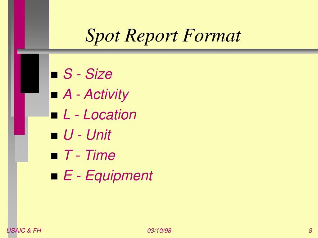 Spot Report Format