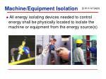 machine equipment isolation