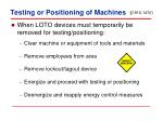testing or positioning of machines
