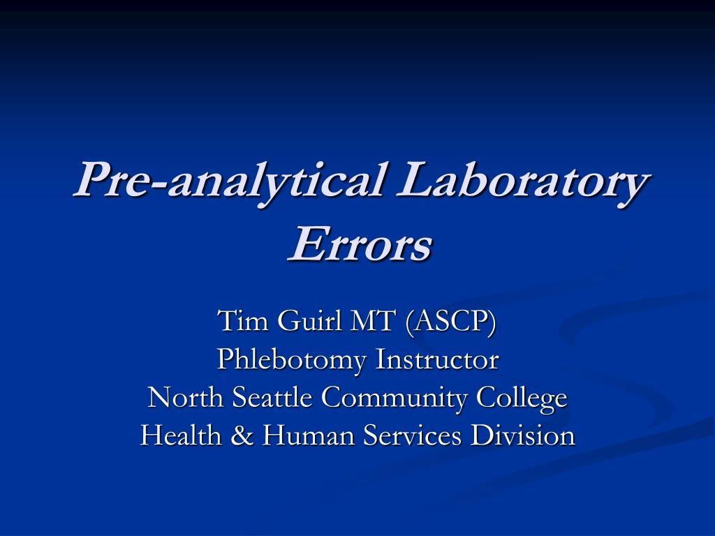 pre analytical laboratory errors l.