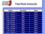 trial work amounts