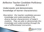 reflective teacher candidate proficiency outcomes 1