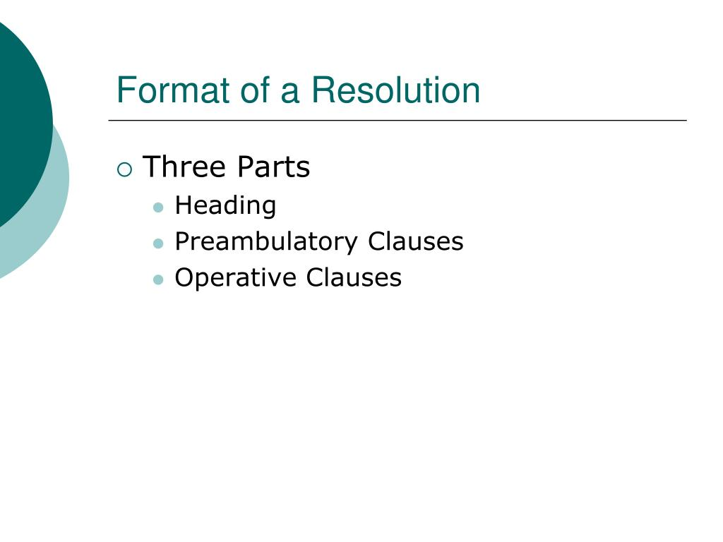 Format of a Resolution