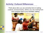 activity cultural differences
