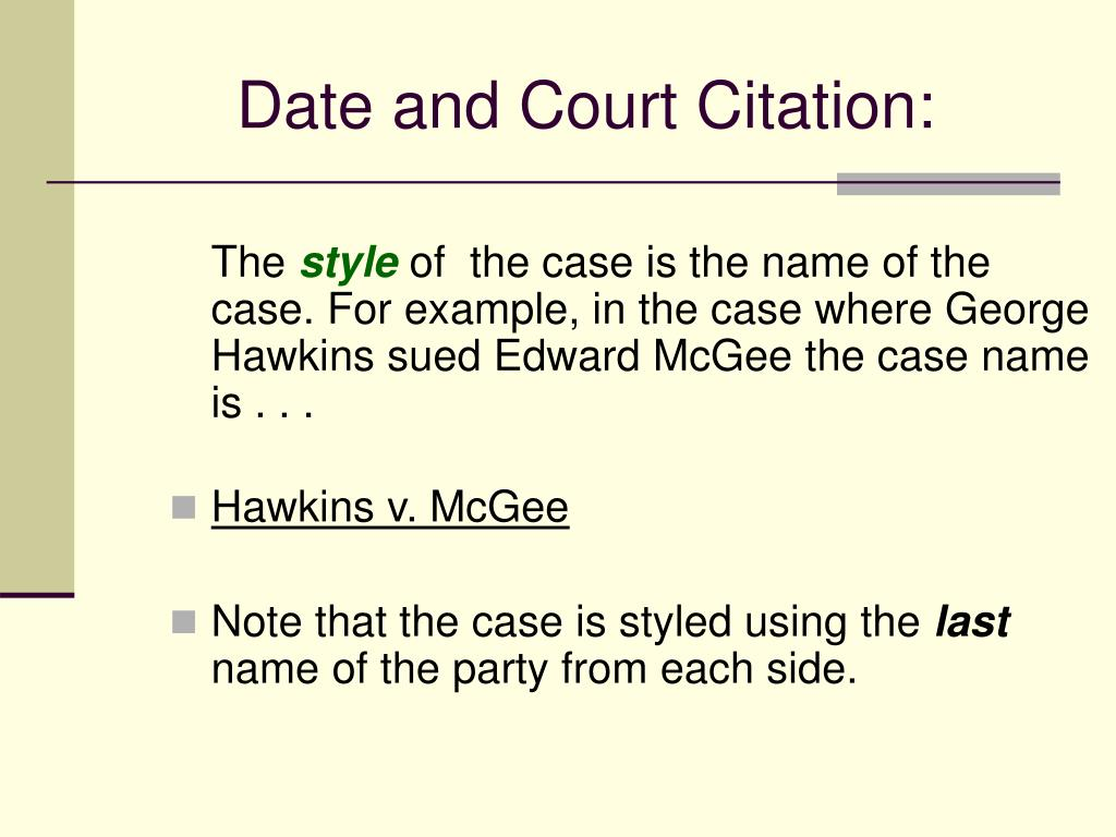 Date and Court Citation: