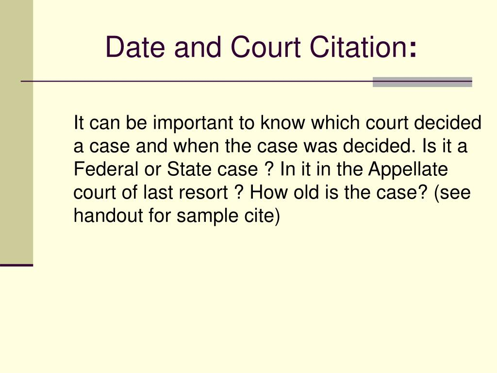 Date and Court Citation