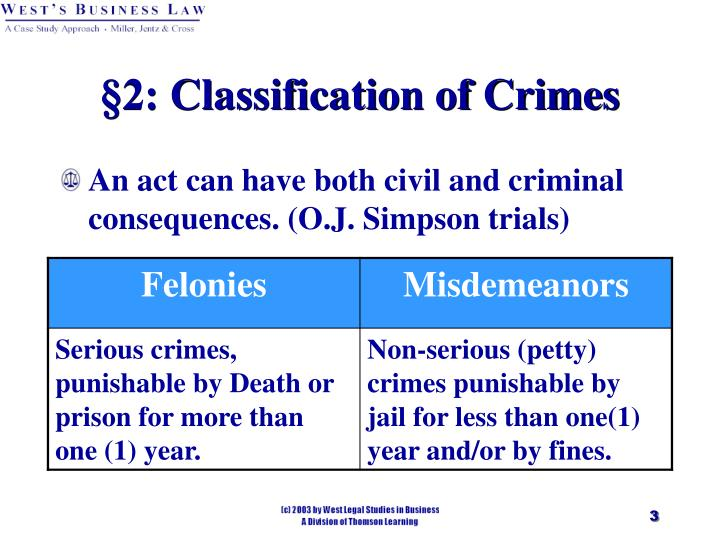 2 classification of crimes