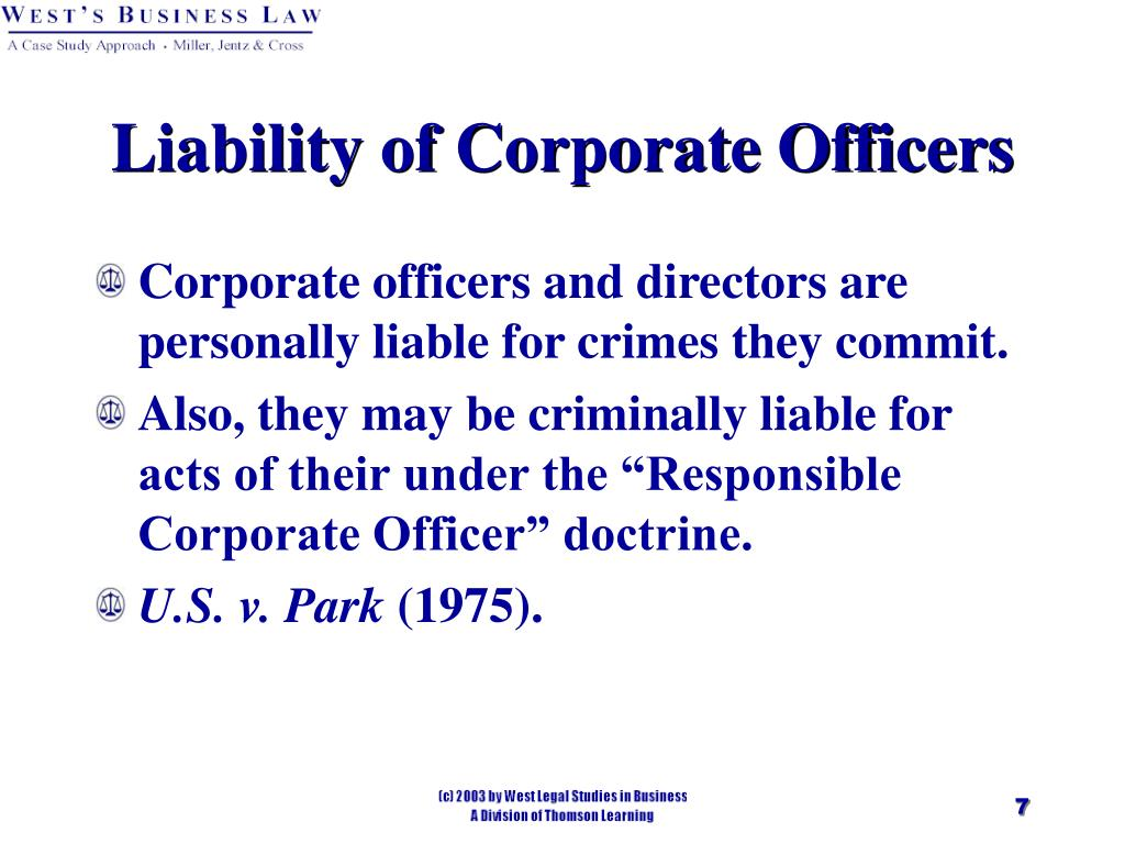 Liability of Corporate Officers
