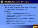 hb 2952 terroristic threatening63
