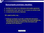 noncompete promises checklist