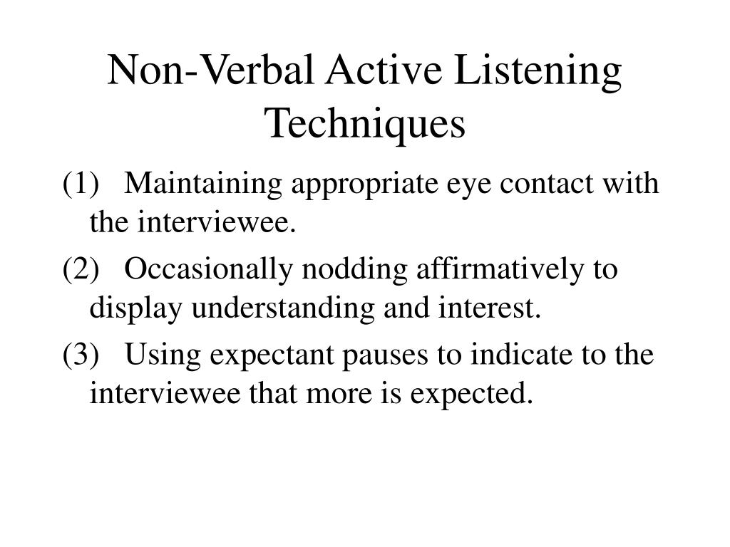 Non-Verbal Active Listening Techniques