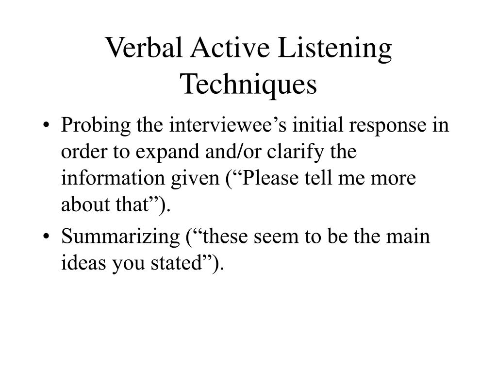 Verbal Active Listening Techniques