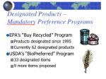 designated products mandatory preference programs