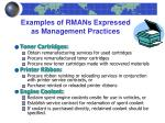 examples of rmans expressed as management practices