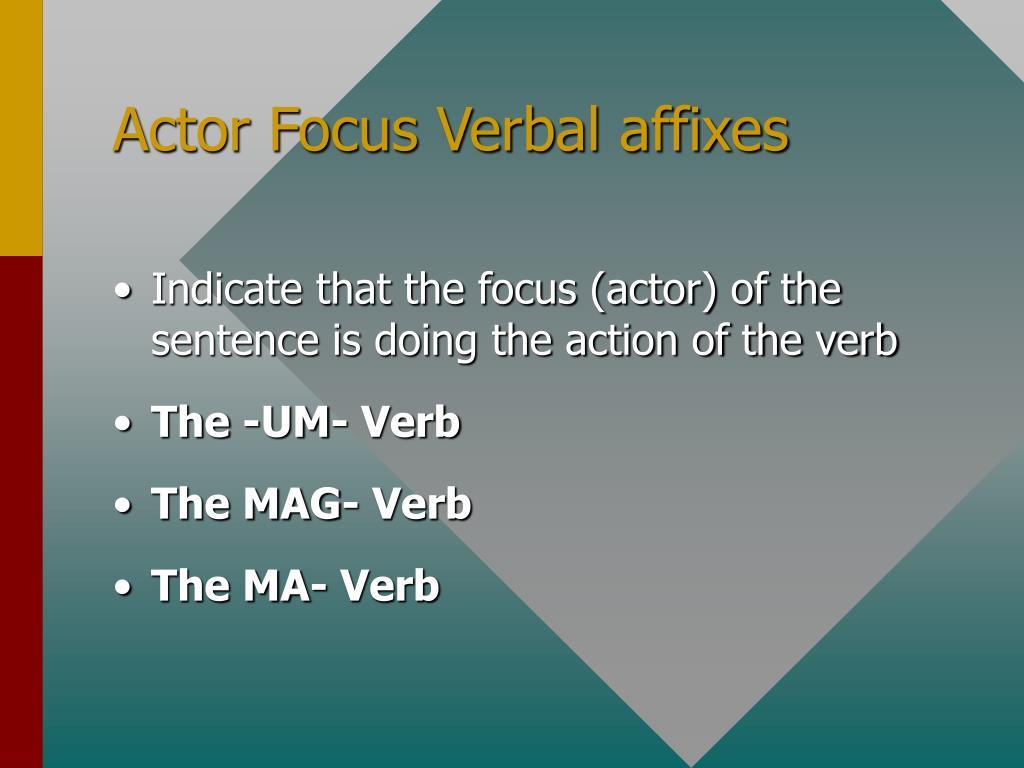 Actor Focus Verbal affixes