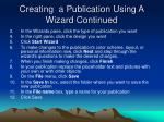creating a publication using a wizard continued