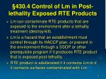 430 4 control of lm in post lethality exposed rte products