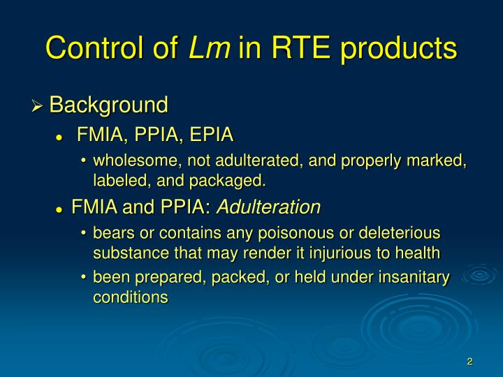 Control of lm in rte products