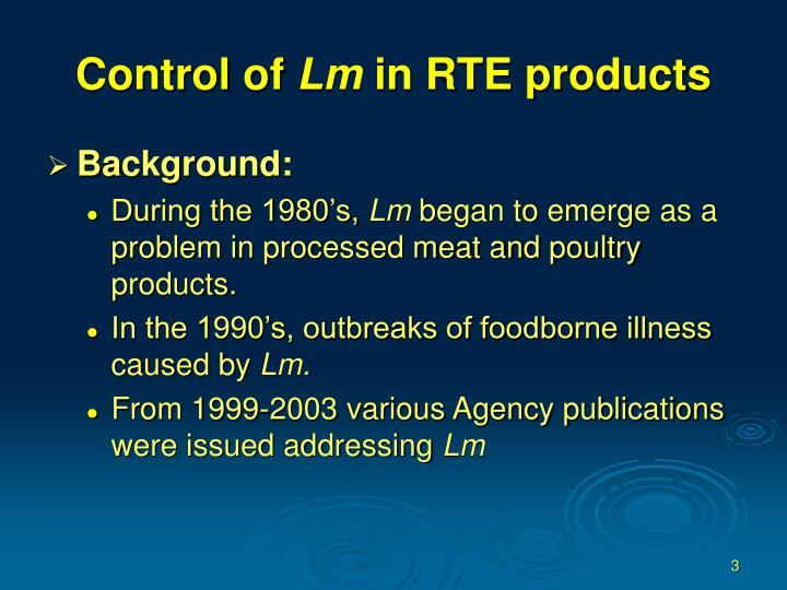Control of lm in rte products3