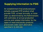 supplying information to fsis