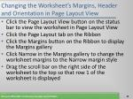 changing the worksheet s margins header and orientation in page layout view