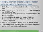 changing the worksheet s margins header and orientation in page layout view67