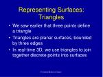 representing surfaces triangles