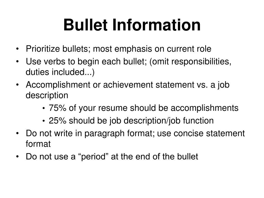 Bullet Information
