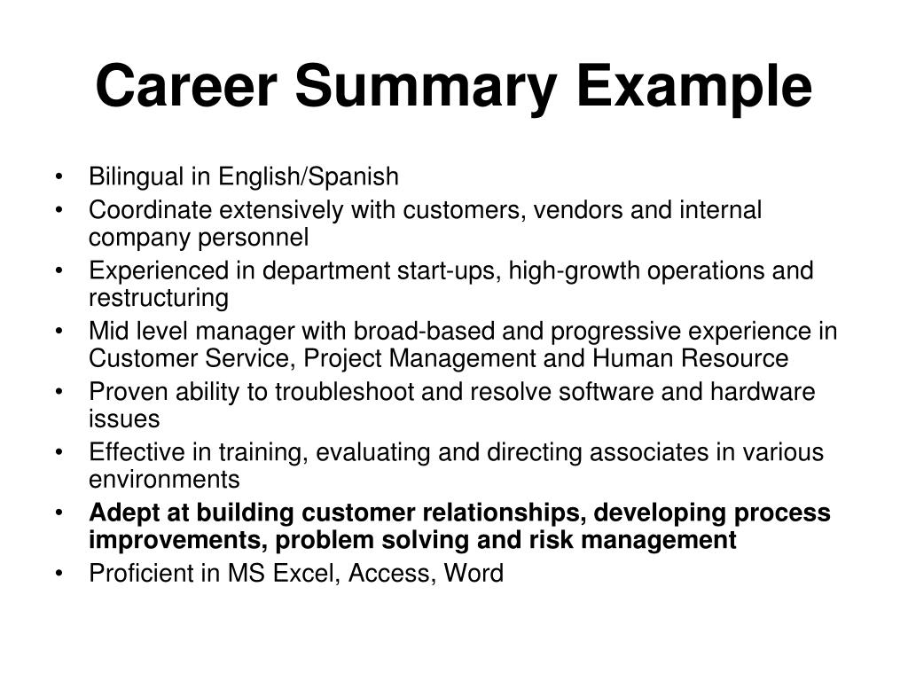 Career Summary Example