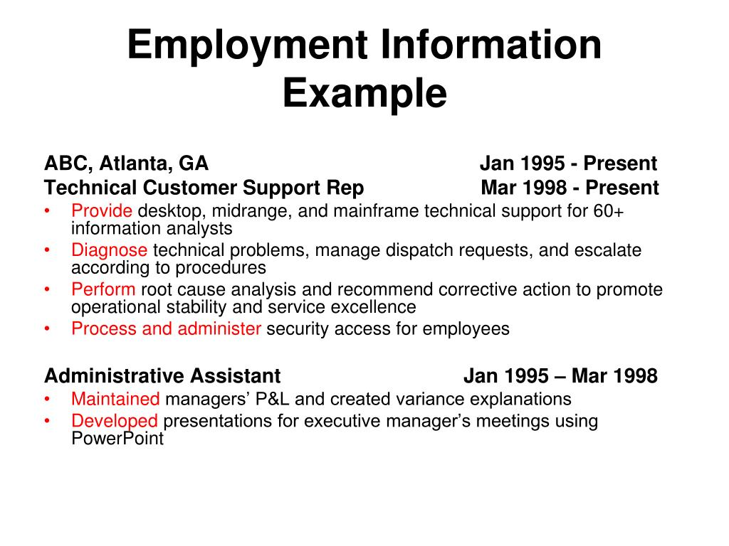 Employment Information Example