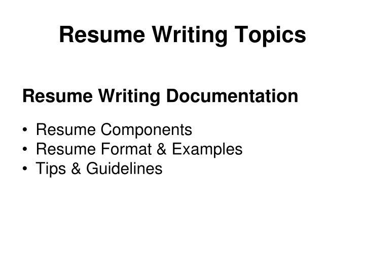 Resume writing topics