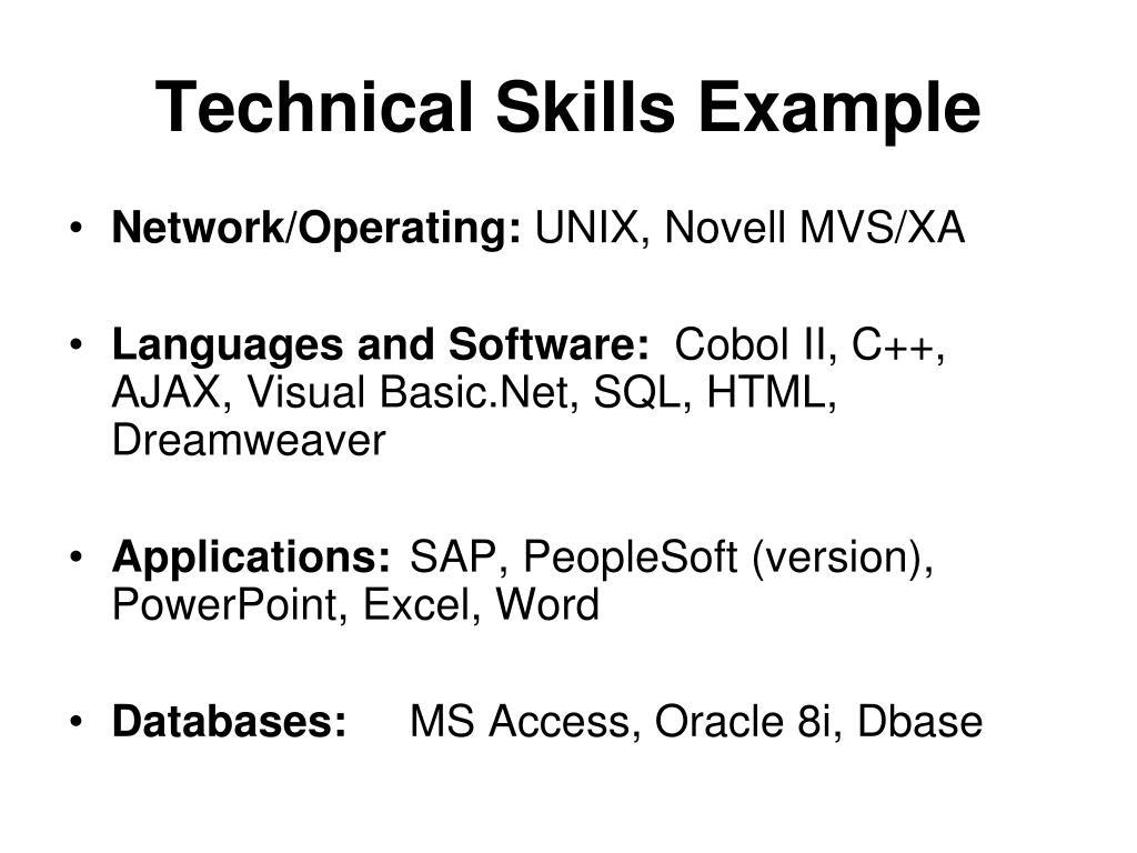 Technical Skills Example